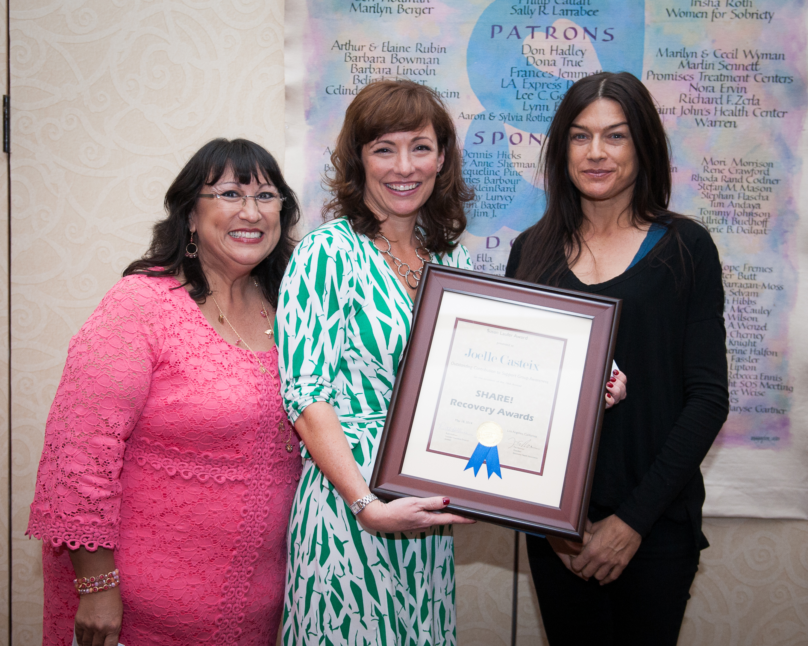 Receiving the SHARE! award with Esther Miller, SNAP leader and founder of Whoop Ass Healing